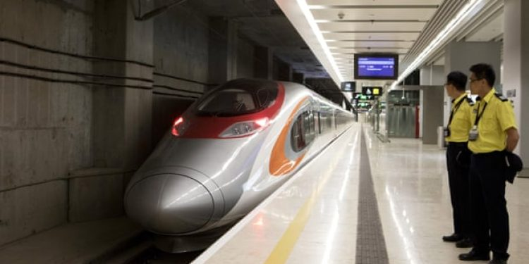 The high-speed train to mainland China before departing Hong Kong. Image: EPA