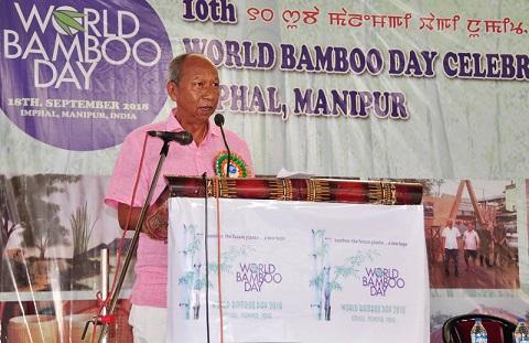 Manipur Assembly Speaker Yumnam Khemchand addressing the World Bamboo Day Celebration function in Imphal on Tuesday. Photo: DIPR, Manipur