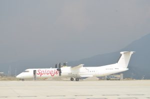 file photo of SpiceJet Bombardier Q40 trial landing at Pakyong Airport on 10th of March 2018.
