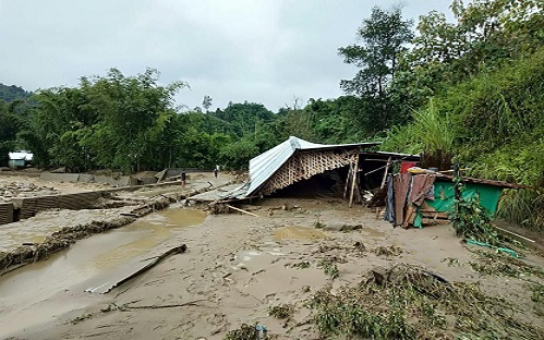 Landslides and flood have left trails of large scale devastation in the capital region of Arunacjhal Pradesh on Friday morning. Photo: Damien Lepcha