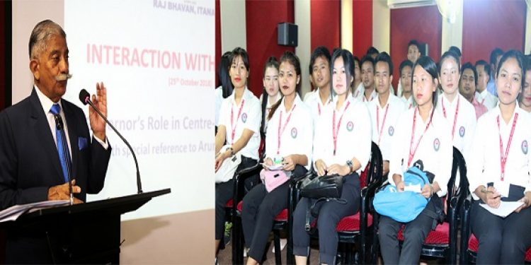 Arunachal Pradesh governor B D Mishra interacting with the students from higher education centers on Thursday. Photo: Northeast Now
