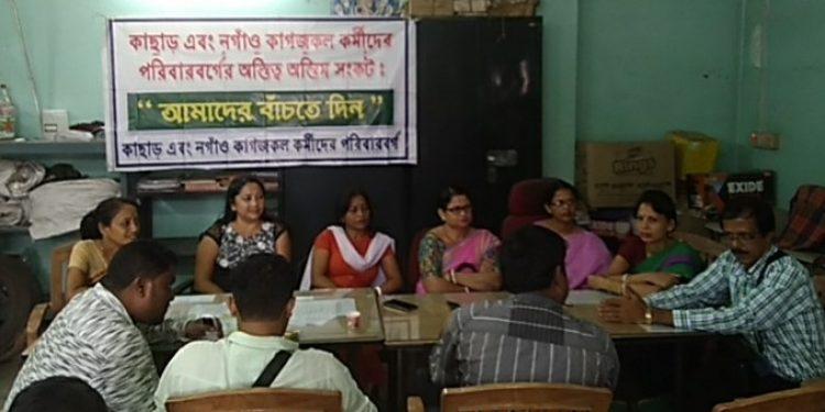Cachar & Nagaon paper mill employees' family members addressing the media in Silchar on Monday. Photo: Aparna Laskar