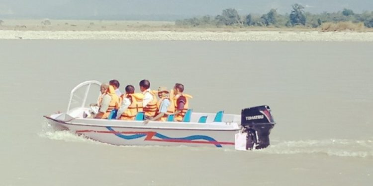 Boating services in Siang river launched. Photo: Damien Lepcha