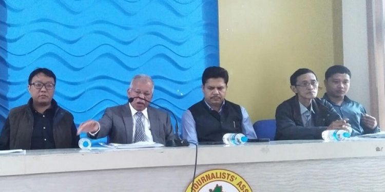 Luizinho Faleiro (2nd from left), AICC general secretary and northeast in charge addressing media in Aizawl on Wednesday. Photo: Sangzuala Hmar
