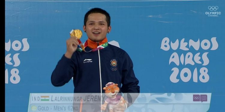 15 year old Mizo weightlifter Jeremy Lalrinnunga wins gold
