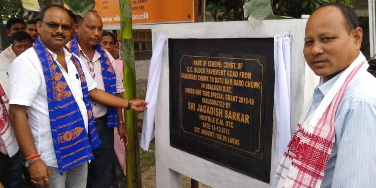EM , BTC , Jagadish Sarkar (Left) laid the foundation of the road connecting Mudoibori & Chapai , Mangaldai