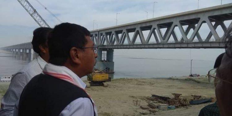Union Minister Rajen Gohain reviews Bogibeel bridge