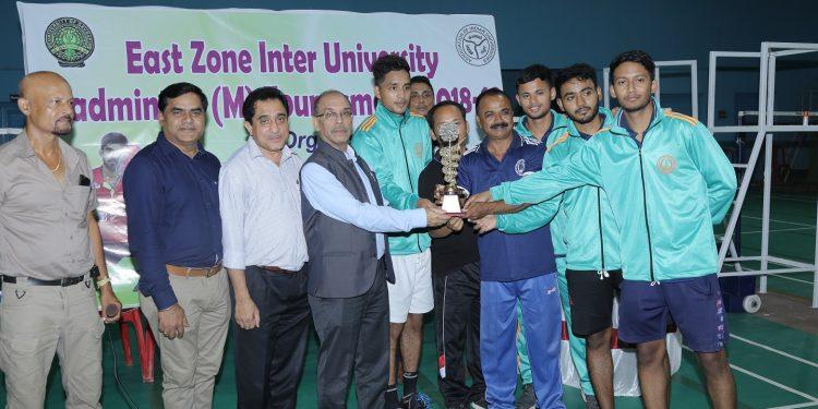 GU Vice Chancellor Dr Mridul Hazarika giving away the championship Trophy