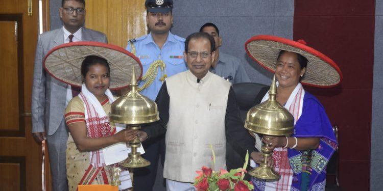 Guv felicitates Deppika Rabha and Nabanita Das