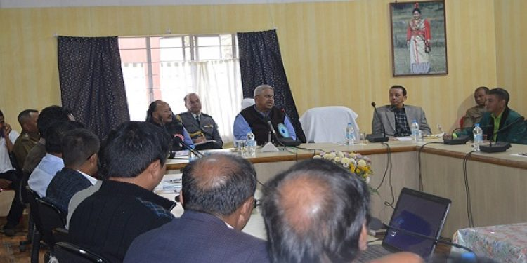 Meghalaya  Governor Tathagata Roy sharing his feelings in a meeting with the district administration at the Conference Hall in DC office on Wednesday. Photo: Northeast Now