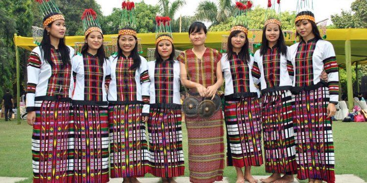 Mizo girls in traditional attire.