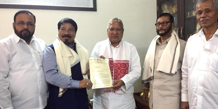AGP President Atul Bora along with other senior leaders handing over the memorandum to JPC chairperson Rajendra Agrawal at New Delhi on Sunday. Image credit: UB Photos
