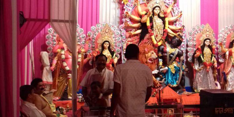 Pix- Nalanipaam Durga Puja mandap at Dhemaji on Tuesday-