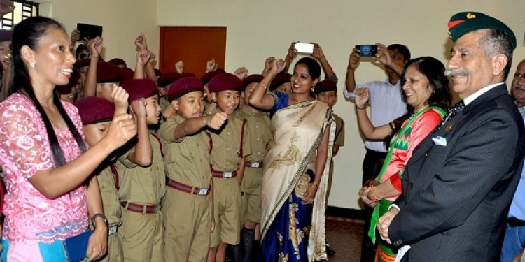 Arunachal governor Dr B D Mishra accompanied by first lady of state Neelam Mishra on Thursday visiting the Sainik School located at Niglok on Thursday. Photo: Damien Lepcha