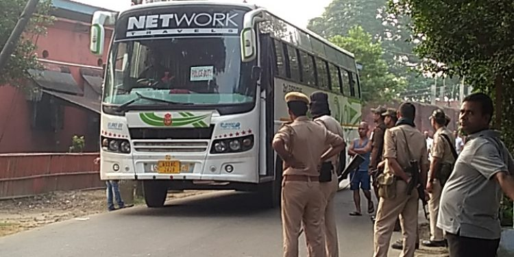 Seven Myanmarese nationals albeit 'Rohingyas' being taken to Moreh in Manipur from Silchar Central Jail to be deported to Myanmar on Wednesday