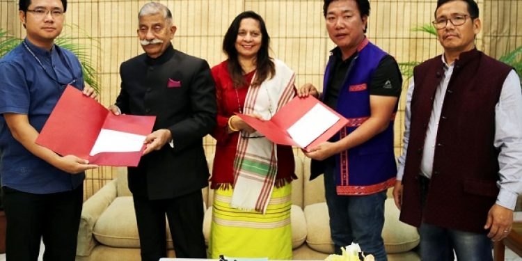 Arunachal Pradesh governor B D Mishra and first lady Neelam Misra registering themselves in the State Electoral Roll at Raj Bhavan in Itanagar on Thursday. Photo: Damien Lepcha