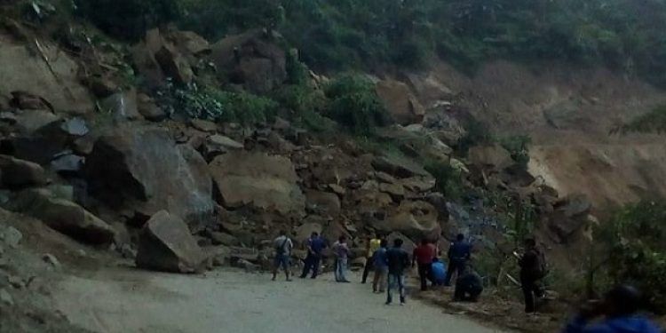 Landslides at a place, around 15 km from Dimapur town, blocks National Highway 29, on Wednesday. Photo: Northeast Now