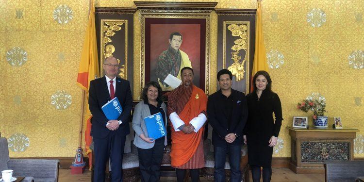 Sachin Tendulkar with Interim Prime Minister of Bhutan. Source: Twitter