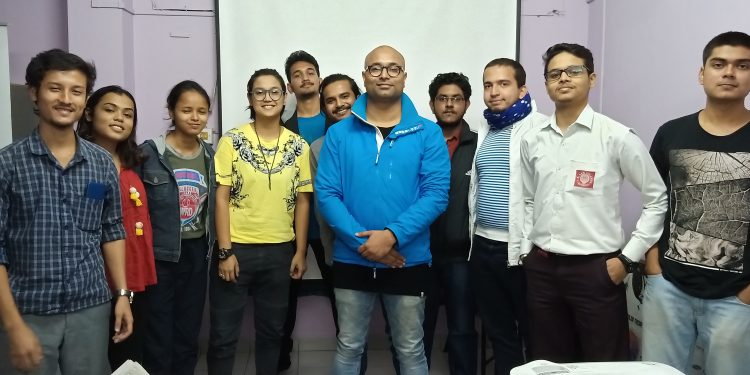 Filmmaker Indranil Kashyap with the participants at the workshop in Guwahati.