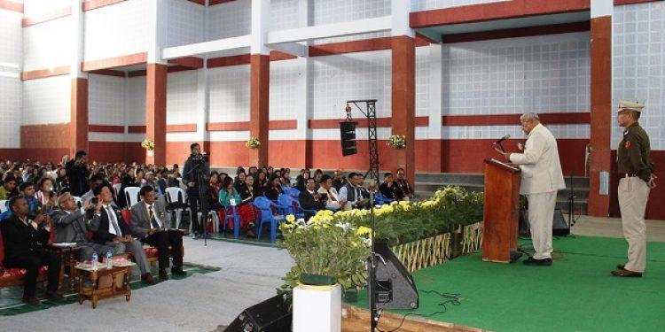 Nagaland governor PB Acharya addressing the All Nagaland Hindi Teachers Union's silver jubilee celebration at Indira Gandhi Stadium, Kohima on Thursday. Photo: Bhadra Gogoi