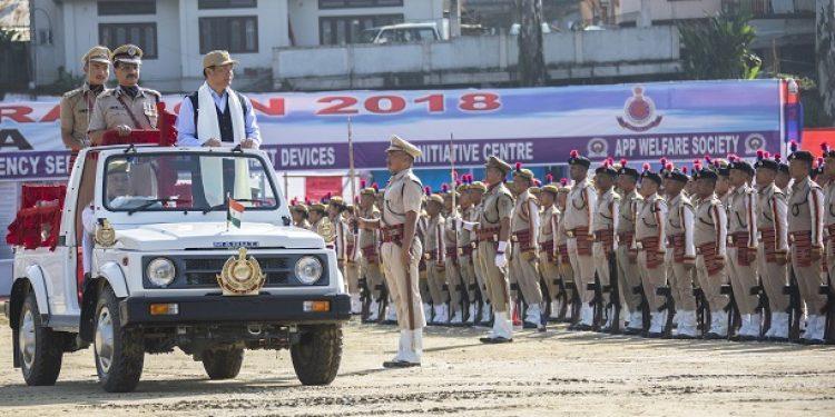 Arunachal Pradesh CM Pema Khandu taking guard of honour on the occasion of 46th Raising Day of Arunachal Pradesh Police on Thursday. Photo: Damien Lepcha