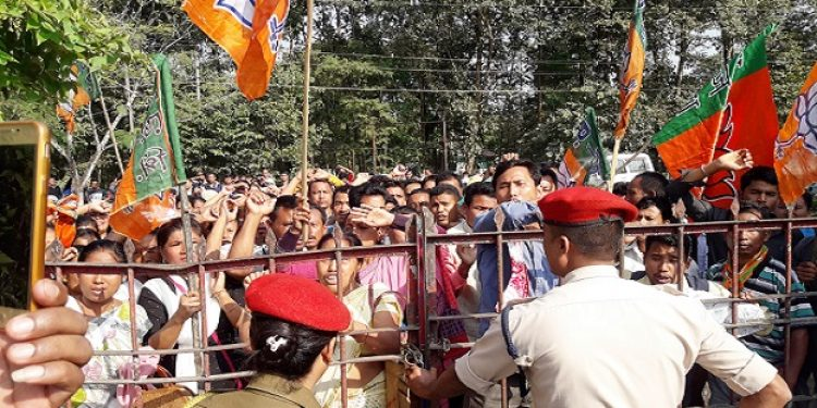 Irate BJP workers including a large number of women staging dharna in front of Jonai SDO's office on Monday. Photo: Prafulla Kaman