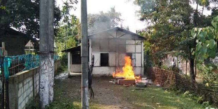 Dissident BJP workers set two BJP mandal offices in Jonai and burnt down party flags and other office materials on November 11.   File photo: Northeast Now