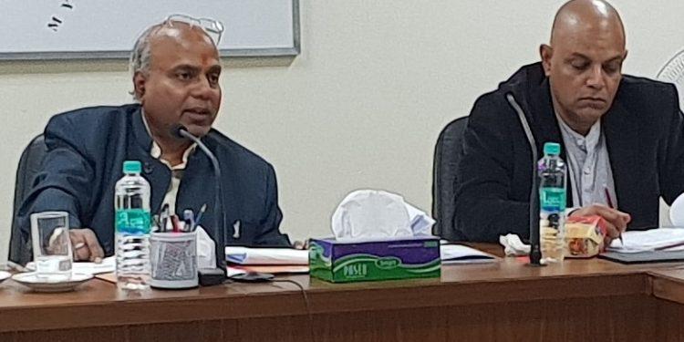 CS Satya Gopal (Left) addressing the BADP meeting at Itanagar
