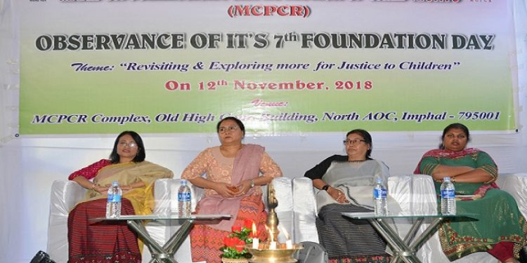 The 7th Foundation Day of Manipur Commission for Protection of Child Rights (MCPCR) was held at its office complex located at the old high court complex at North AOC, Imphal on Monday. Photo: Sobhapati Samom