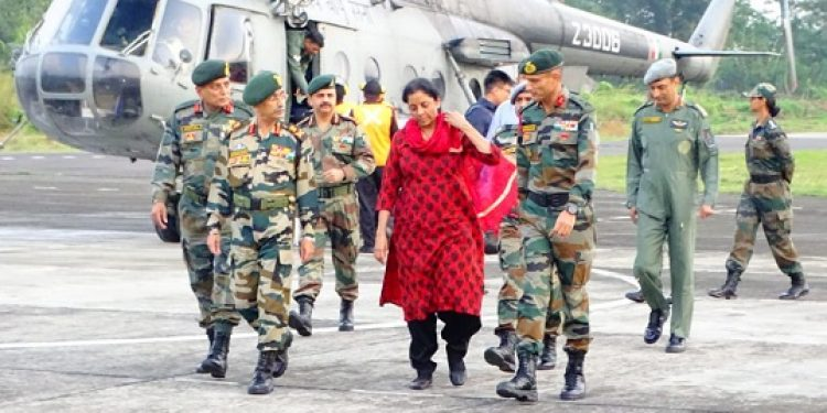 Indian Defence Minister Nirmala Sitharaman reaches Chabua on Tuesday on a two-day visit to Spear Corps Zone. Photo: Avik Chakraborty