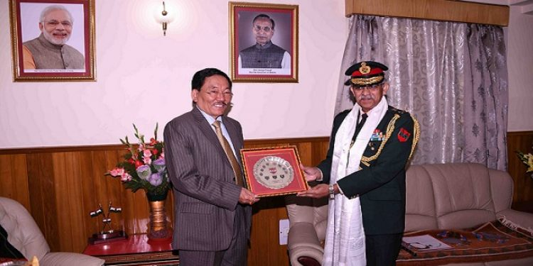 Lt Gen CP Mohanty, GOC 33 Corps calling on Sikkim Chief Minister Pawan Chamling at his official residence, Mintokgang on Monday.  Photo: Sagar Chhetri