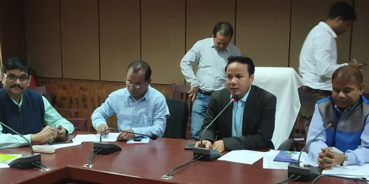 Jorhat Deputy Commissioner Narayan Konwar (2nd from right) addressing media regarding preparations for panchayat polls in the district. Photo: Northeast Now
