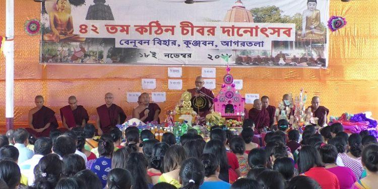Hundreds of Buddhists congregating in historical monastery 'Venuban Vihar' in Agartala to participate in the 42nd 'Kathin Chibor Dan' festival, one of the main religious festivals of the Buddhist community on Sunday. Photo: Pinaki Das