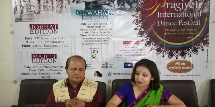 (L-R) Dr Pradip Jyoti Mahanta, Secy of Kalpa, and Dr Anwesa Mahanta, Festival Director of PIDF address a press conference regarding 10th Pragjyoti International Dance Festival (1)