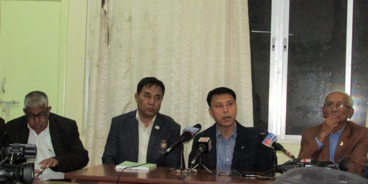 Manipur olympic assn president Th Radheshyam(2nd from right) speaking to media in Imphal on wednesday