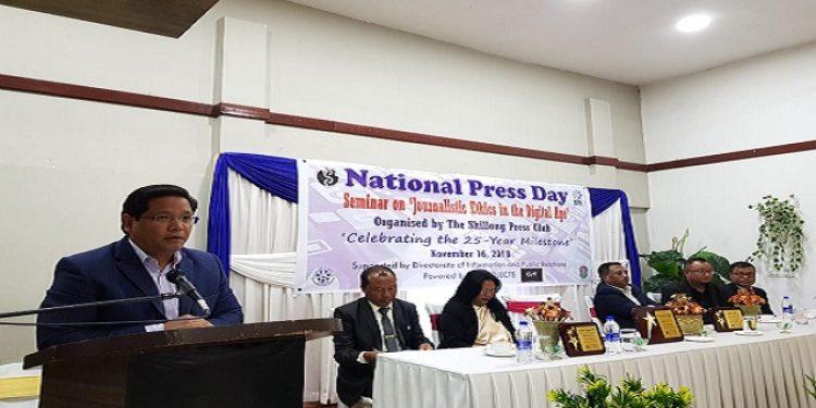 Meghalaya CM Conrad K Sangma addressing media persons on National Press Day at Shillong on Friday. Photo: Northeast Now