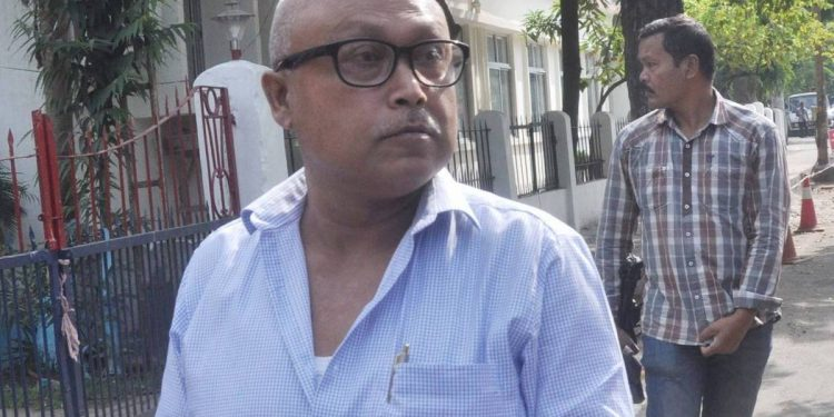 Pro-talk ULFA leader Mrinal Hazarika at Panbazar police station premises in Guwahati on Friday.
