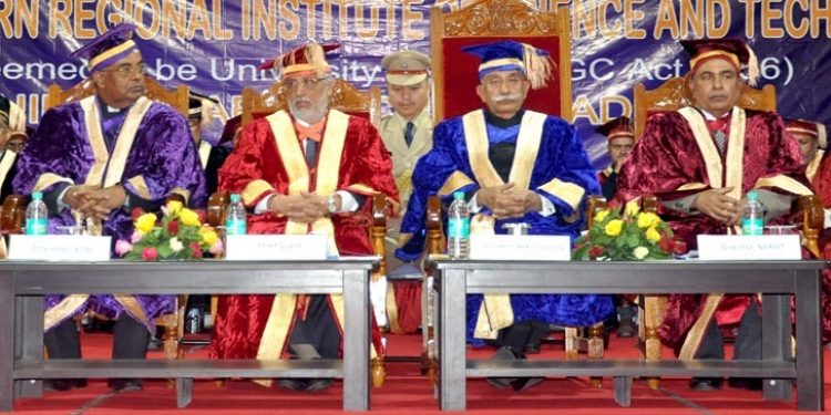 Arunachal governor Dr B D Mishra (2nd from right) during the convocation of NERIST at Nirjuli in Arunachal Pradesh on Monday. Photo: Damien Lepcha