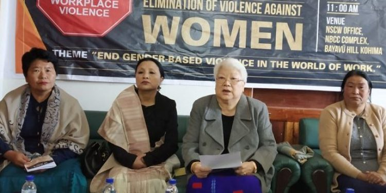 NSCW chairperson Dr Temsula Ao (2nd from right) speaking at the programme in Kohima. Image credit:  Bhadra Gogoi