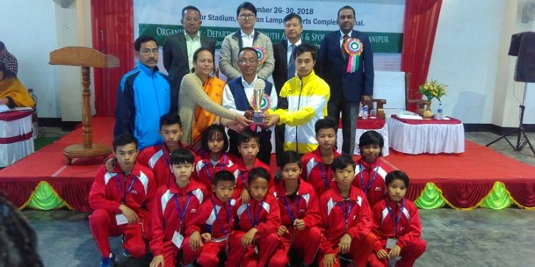 Host Manipur emerges overall team champion at the end of 5-day 64th National School Games, 2018 for U-14 Boys & Girls held at Imphal. Photo: Sobhapati Samom