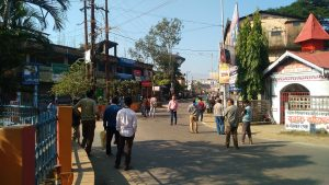 Picketers outside India Club point stopping vehicles for plying on the streets in Silchar on Thursday