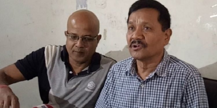 Pro-talk ULFA general secretary Anup Chetia (right) talking to media here at Guwahati on Wednesday. Photo: Northeast Now
