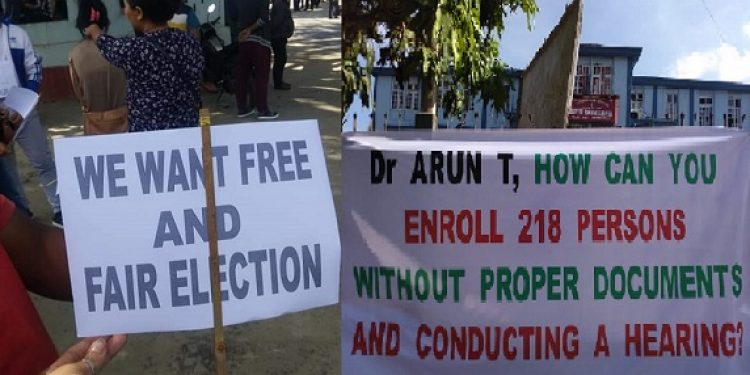 NGO Coordination Committee of the Kolasib district organizing Save Mizoram Movement demanding the ouster of DC and district election officer Dr T Arun over the alleged inclusion of 218 Bru voters in the latest electoral rolls on Wednesday. Photo: Sangzuala Hmar