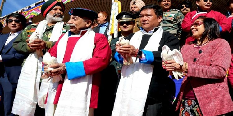 Arunachal governor Dr B D Mishra (left), CM Pema Khandu (centre) in a file photo during the inaugural function of Tawang Maitree Diwas on November 28, 2018. Photo: Damien Lepcha