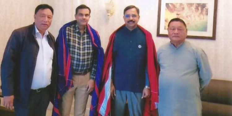 Director of tea development of Tea Board of India, Kolkata, S Soundararajan (2nd from right) with state government officials during his visit to Nagaland. Photo: Bhadra Gogoi