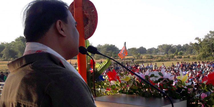 Finance Minister Himanta Biswa Sarma addressing an election rally at Teok on Friday. Image credit: UB Photos