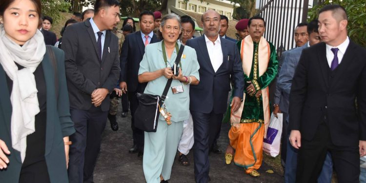 Thai princess Maha Chakri Sirindhorn along with Manipur chief minister N Biren(left) and titular king of Manipur Leisemba Sanajaoba inspecting historic Kangla fort ancient capital in Imphal on Wednesday (2)