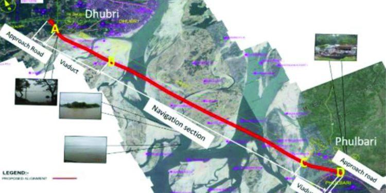 Dhubri-Phulabari bridge map