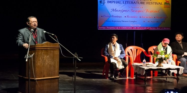 Theatre personality Ratan Thiyam speaking at the inaugural function of the Imphal Literature  Festival on November 28, 2018. Photo:  DIPR, Manipur