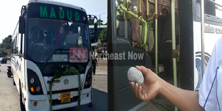 bandh supporters pelt stones at bus in barpeta